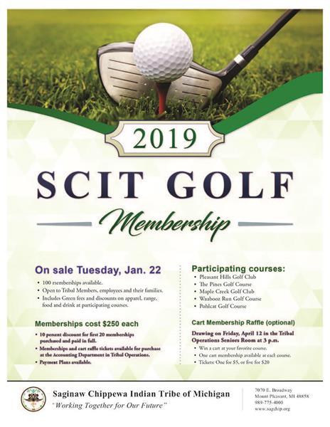 2019 Golf Membership's and Cart Raffle - Saginaw Chippewa