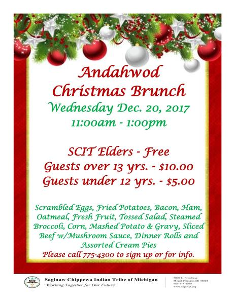 Andahwod Christmas Brunch | December 20th, 2017 | 11:00AM