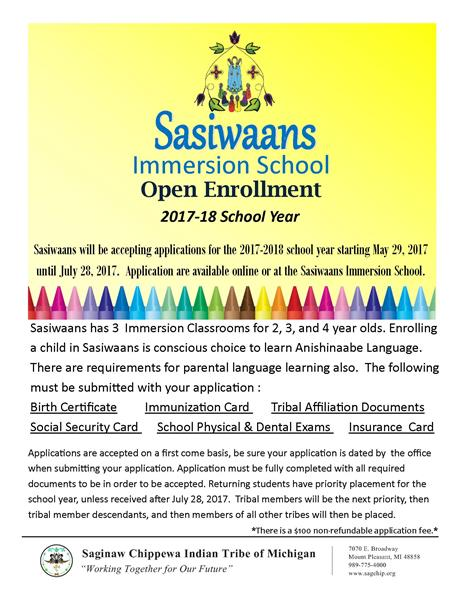 Sasiwaans Immersion School Open Enrollment 2017-2018 - Saginaw ...